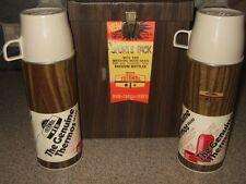 NOS Vintage Thermos Wood Grain Vacuum Bottle Sports Pack