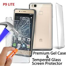 Huawei P9 LITE New Premium Gel Silicone Rubber Phone Case + Glass Protector