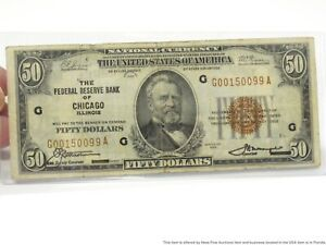 1929 Federal Reserve Bank of Chicago Red Seal US Fifty Dollar Bill $50 Note