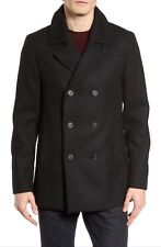 Ted Baker London Zachary Trim Fit Double Breasted Wool Peacoat - Black - Large