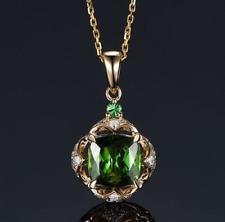 8x8MM Cushion Green Tourmaline 14K Yellow Gold Natural Diamonds Pendant Necklace