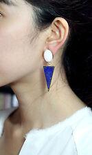 Boucle d`Oreilles Fashion CLIP Doré Blanc Bleu Lapis Lazuli Triangle Vintage YW4