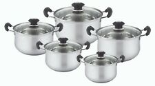 10 Pieces Stainless Steel Cookware Set, 1.75 / 2.5 / 3.5 / 4.5 / 5.5 Quarts