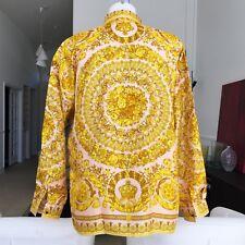GIANNI VERSACE peach & gold silk shirt Barocco print Italian size 50