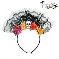 Mujer DÍA DE LOS MUERTOS CALAVERA diadema ENCAJE Telaraña Disfraz de Halloween