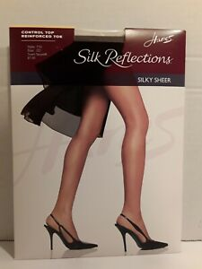 Hanes~Silky Reflections Pantyhose~Town Taupe~Size: C/D~Silky Sheer Control Top
