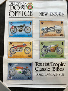isle of man TT Motorcycle Stamps Poster Tourist Board