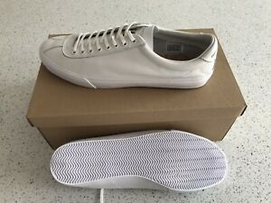 Pretty Green Mens White Leather Pumps Trainers Shoes Size Uk 10