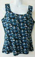 CHICO'S Top Tank Blue/Black Print Knit Pullover Size 1 (8-10)
