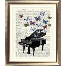 Stampa artistica sulla pagina del libro DIZIONARIO Pianoforte foto CONTEMPORANEE VINTAGE OLD MUSIC