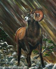 Signed Art-Bighorn Sheep,Log Home, Decor, Limited Edition,LL Bean,cabelas