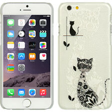 iPhone 6 / 6S - HARD SNAP ON SKIN CASE FROSTED COVER BLACK WHITE LACE CAT KITTY