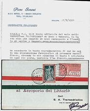 ITALIA storia postale - PRIMI VOLI - LONGHI # 1940 : PATHFINDER 1929 certificato