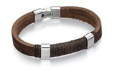 Designer Fred Bennett Gents Brown leather & stainless steel bracelet B4558