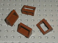 4 x RedBrown tile with handle LEGO ref 2432 / Set 10152 10155 6210 75155 75053..