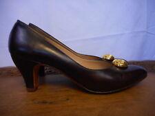 """Salvatore Ferragamo 2.5"""" Heel Ladies Pumps Brown Gold embellishment 8 AAA Italy"""