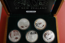 *Nur 1500 Sets! Neuseeland 5 x 1 $ 2009 Silber PP (5x1 Oz)*Giants of New Zealand
