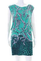 Laundry by Shelli Segal Womens Animal Print Blouson Dress Green Navy Blue Size 4