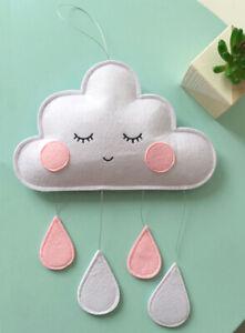 Wool Felt Cloud Raindrop Room Pram Nursery Decor Pendant Tent Wall Hanging Gift
