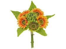 "ORANGE Quality Sunflowers Bundle Artificial Silk Flowers 15"" Bouquet 6-58052OR"