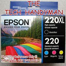 4-PACK EPSON GENUINE 220XL BLACK & 220 COLOR INK (NO RETAIL BOX) WF-2650 WF-2750