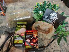 🦎Terra Reptile Uvb 100 and 50 watt bulb heating pad, moss,water dish greenery