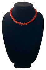 Vintage Branch Red Coral Necklace Choker Sterling Silver Clasp 17""