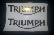 Triumph Tank vinyl cut sticker / decal pair, 160mm x 45mm Gold Chrome new style