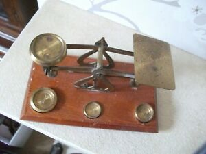 Antique Brass & Wood Postal Scales With Weights 2, 1 & 1.2 oz