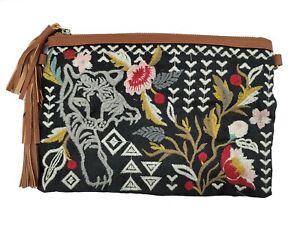 Johnny Was Anzia Leather Tassel Clutch Bag One Size Black- J08420-D