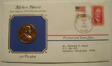Bronze Hoover Presidential Medal Gold Plated in Stamped Cover 1983