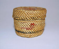 Antique Makah Nootka Miniature Basket With Lid Sea Grass & Cedar