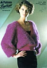 """~ Patons Knitting Pattern For Lady's V-Back or Front Mohair Sweater ~ 32"""" ~ 42"""""""