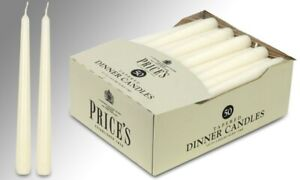 Dinner Candle Stick Taper White Ivory Cream 50 Pack  Cheapest 7 hours burn