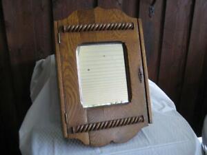 """Rare Antique Scroll Mirrored Oak Medicine Cabinet ~ 21.75"""" H X 14.25"""" W X 6.5"""" H"""