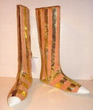 PRADA(£795RRP)Ladies Pink Suede & Gold Snake Leather Boots Size 6(36) - New