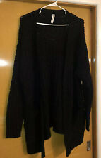 Asher Kate 2X Solid Black  Cardigan Sweater