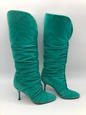 Dolce & Gabbana Turquoise Boots Suede Knee High Euro Size 37 1/2  US 7 Box