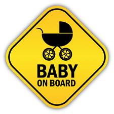 "Baby On Board Pram Funny Warning Sign Car Bumper Sticker Decal 5"" x 5"""