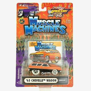 CHEVELLE WAGON 1/64 '65 1965 MUSCLE MACHINES GROCERY GETTERS 1:64 ORANGE & BLACK
