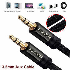 3m Meter Premium 3.5mm Jack Aux Cable Strong Braided Male Audio Lead Gold Plated