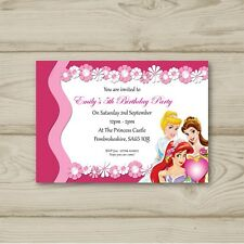 10 Personalised Birthday party invitations Disney Princesses Free Envelopes