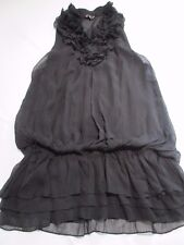 TSEGA PRETTY FUN BLACK FRILLY NECK ELASTICATED AT HIP MINI SUMMER DRESS UK 10
