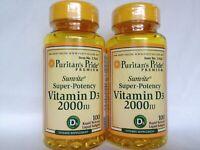 2 Puritan's Pride  Super-Potency Vitamin D3 2000 IU  50mcg 100+100) Softgels