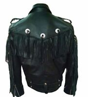 Classyak Men's Western Genuine Leather Cowboy Biker Fringed Jacket