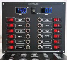12 Way Illuminated Circuit Breaker/Switch Panel Digital Volt and ammeter (Blue)