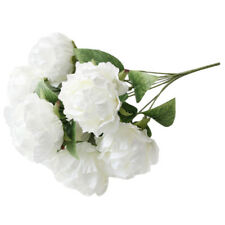 PF 1 Bouquet Peony Bouquet Silk Flowers Faux Fake Bunch Wedding Artificial, Whit