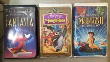 Lot Of 3 Walt Disney VHS Movies! Little Mermaid 2, Fantasia And The Jungle Book