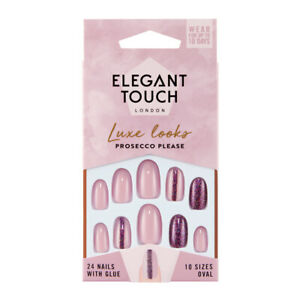 Elegant Touch 24 x PROSECCO PLEASE Luxe False Nail Tips & Glue Moisture Free