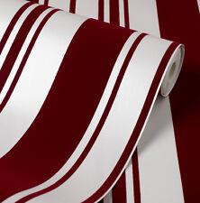 Exclusive Velvet Flock Red/Cream Stripe Wallpaper (44004)